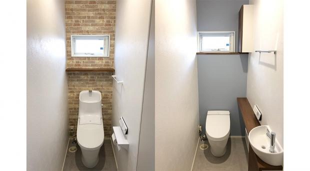 1階と2階でトイレの雰囲気も変えています