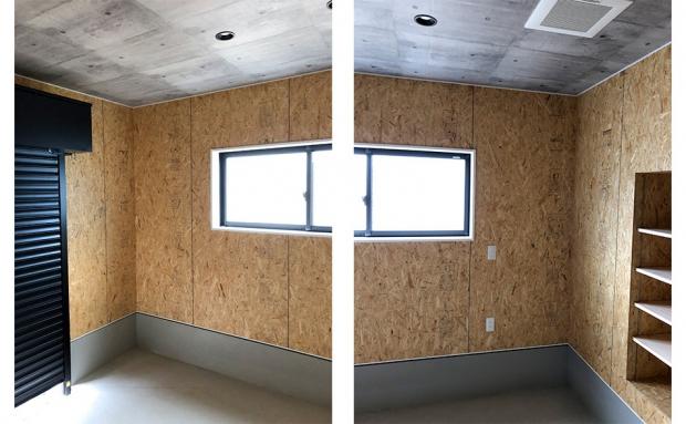 壁にはOSBボード、天井にはコンクリート風のシートを使った大人のインナーガレージ