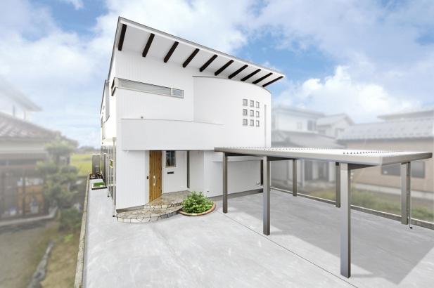 外観のアーチと窓の取り付け方が特徴的な外観